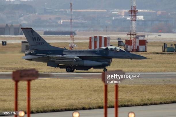 Dec 04 2017Osan South KoreaUnited States Airforce F16 prepare for flight on the runway at Osan Military Airbase in Pyeongtaek South Korea South Korea...