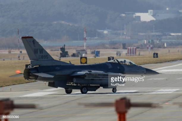 Dec 04 2017Osan South KoreaUnited States Airforce F16 stand by on the runway during an VIGILANT ACE18 exercise at Osan Military Airbase in Pyeongtaek...