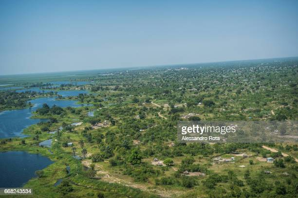 Dec. 1 2014 - Aerial view of the outskirt of Bor, capital city of Jongoley State in South-Sudan. More than 100'000 people fleed from this area to...