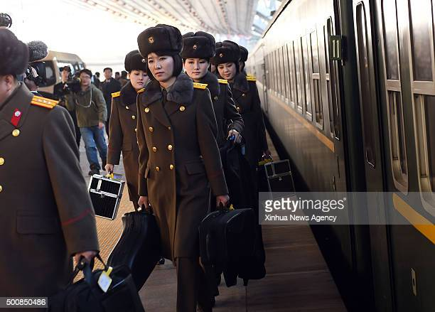 BEIJING Dec 10 2015 Members of the State Merited Chorus and the Moranbong Band from the Democratic People's Republic of Korea get off from a train at...
