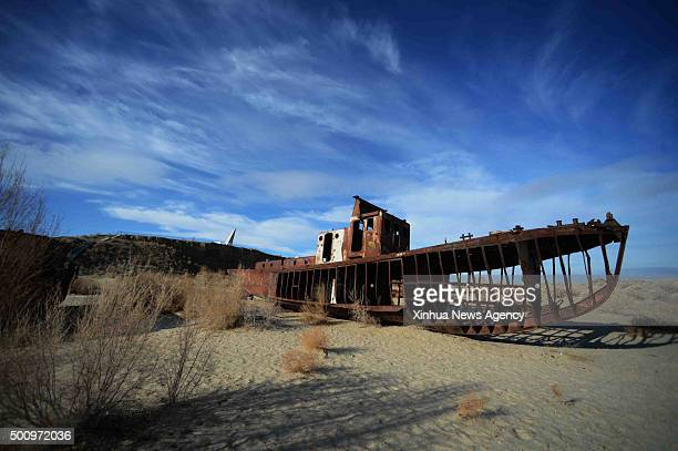 TASHKENT Dec 11 2015 Photo taken on Dec 7 2015 shows an abandoned ship at Moynak in the Aral Sea Uzbekistan Once the world's fourth largest lake the...