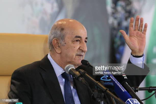 ALGIERS Dec 13 2019 The newly elected President of Algeria Abdelmadjid Tebboune attends a press conference in Algiers Algeria on Dec 13 2019...