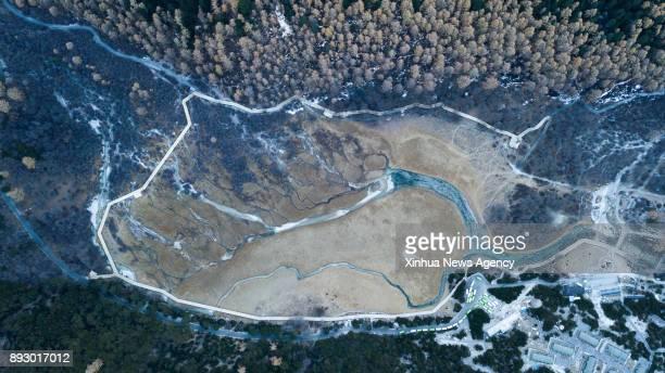 BEIJING Dec 14 2017 Photo taken on Nov 18 2017 shows the bird's eye view of streams in Yading Nature Reserve in Daocheng County of Tibetan Autonomous...