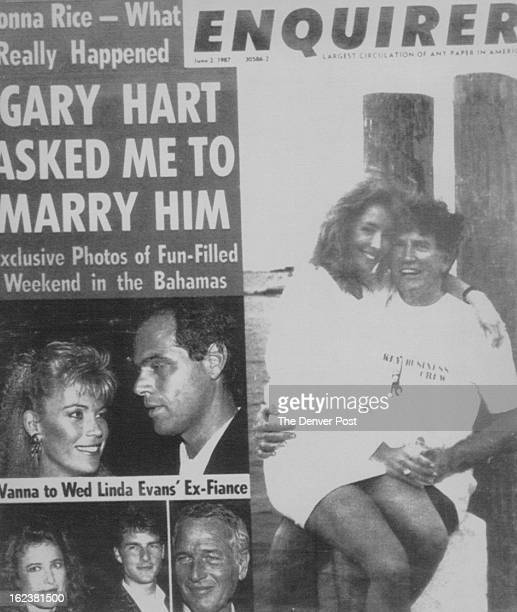 121987 Dec 15 1987 Jerry ClevelandThis is the June 2 1987 cover of the National Enquirer showing Donna Rice with Gary Hart right