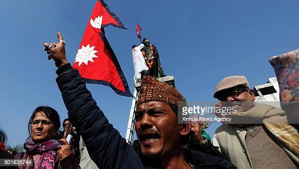 KATHMANDU Dec 16 2015 An activist shouts slogans during the anniversary of late King Mahendra near the Royal Palace in Kathmandu capital of Nepal on...
