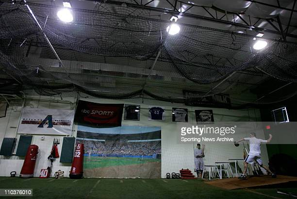 Dec 17 2007 Phoenix Arizona USA Pitcher KRIS BENSON works out in front of Major League Baseball scouts at Fisher Sports