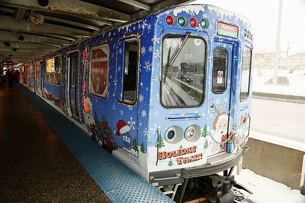 17 2016 shows a christmas train at 95thdan ryan station in chicago the united states to celebrate the forthcoming christmas holiday season