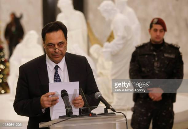 Dec. 19, 2019 -- Newly-appointed Lebanese Prime Minister Hassan Diab addresses a press conference in Baabda, Lebanon, on Dec. 19, 2019. Hassan Diab...