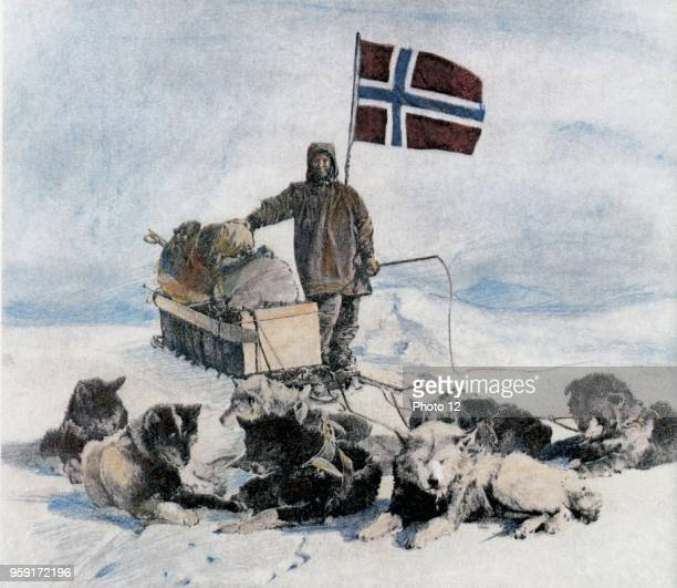 15 Dec 1911 South Pole Roald Amundsen first man at the South Pole The picture presents his companion Oscar Wisting with the Norwegian flag