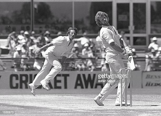 Ian Botham of England bowling to Gary Cosier of Australia during the second test match in Perth Australia Mandatory Credit Adrian Murrell/Allsport
