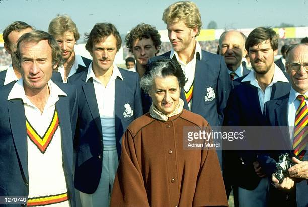 Prime Minister of India Mrs Gandhi meets the England team before the Third Test match at Feroz Shah Kotla in Delhi India The match ended in a draw...