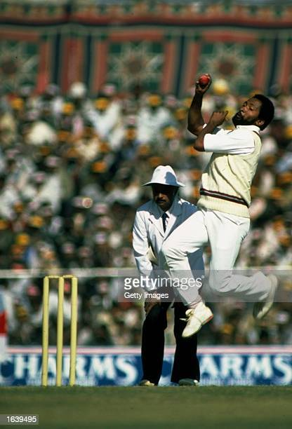 Andy Roberts the West Indian fast bowler in action Mandatory Credit Allsport UK /Allsport