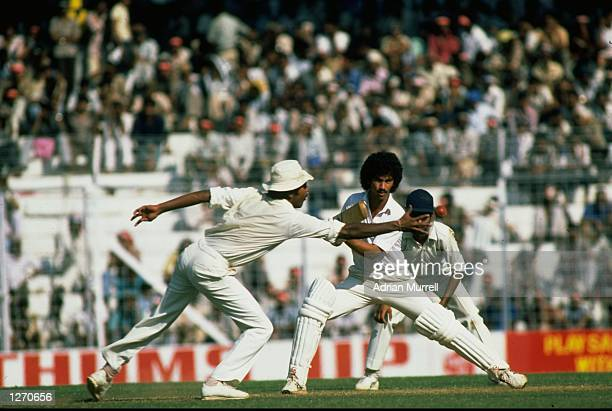 Larry Gomes of the West Indies in action during the Fifth Test match against India at Eden Gardens in Calcutta, India. The West Indies won the match...