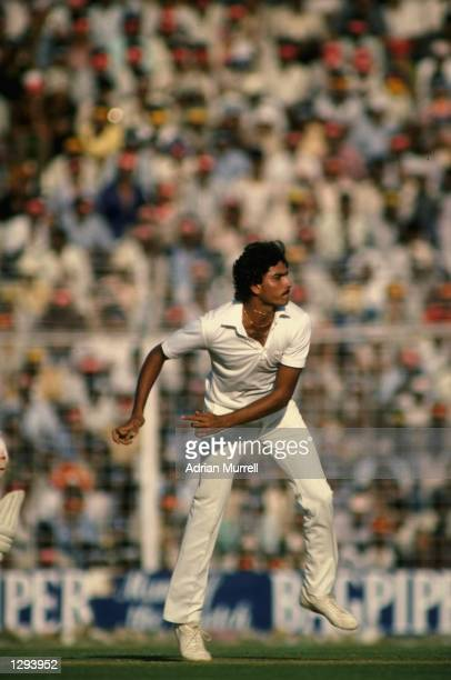 Ravi Shastri of India bowls during the Fifth Test match against the West Indies at Eden Gardens in Calcutta India The West Indies won the match by an...