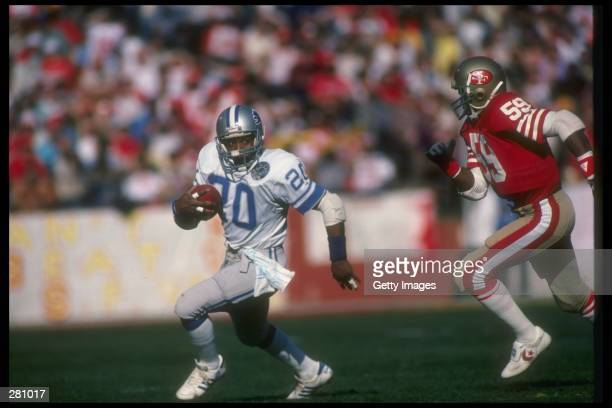 Running back Billy Sims of the Detroit Lions moves the ball during a playoff game against the San Francisco 49ers at Candlestick Park in San...