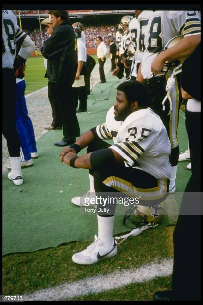 Running back Earl Campbell of the New Orleans Saints looks on during a game against the Los Angeles Rams at Anaheim Stadium in Anaheim California The...