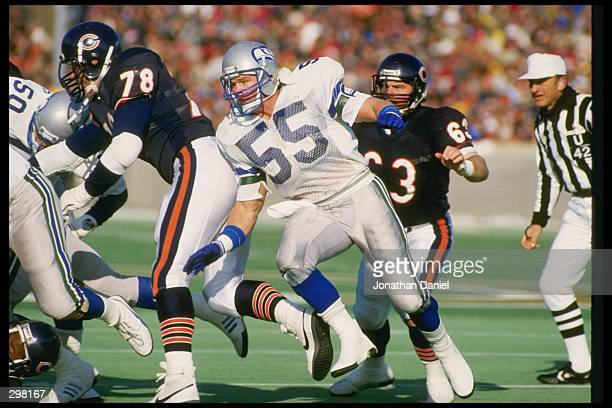 Linebacker Brian Bosworth of the Seattle Seahawks works against the Chicago Bears during a game at Soldier Field in Chicago Illinois The Seahawks won...