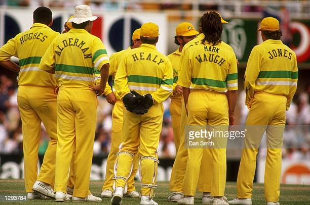 Rear view of the Australian team during a match against the West Indies at the Sydney Cricket Ground in Australia. \ Mandatory Credit: Dan...