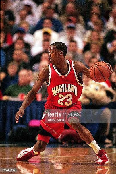 Steve Francis of the Maryland Terrapins dribbles the ball during a game against the Kentucky Wildcats at the Rupp Arena in Lexington, Kentucky. The...