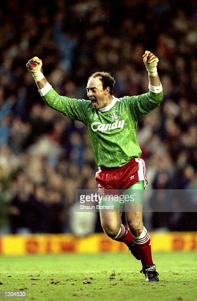 Goalkeeper Bruce Grobbelaar celebrates during a Barclays League Division One match at Anfield in Liverpool, England. \ Mandatory Credit: Shaun...