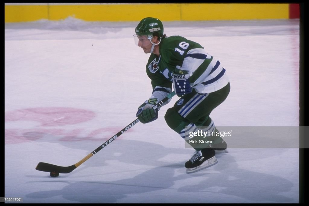 Rightwinger Pat Verbeek of the Hartford Whalers moves the puck during a game against the Buffalo Sabres at Memorial Auditorium in Buffalo, New York.