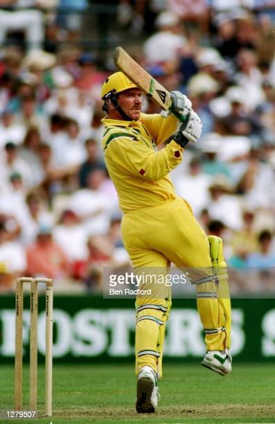 Allan Border of Australia in action during the One Day International against South Africa in Melbourne Australia Mandatory Credit Ben Radford/Allsport