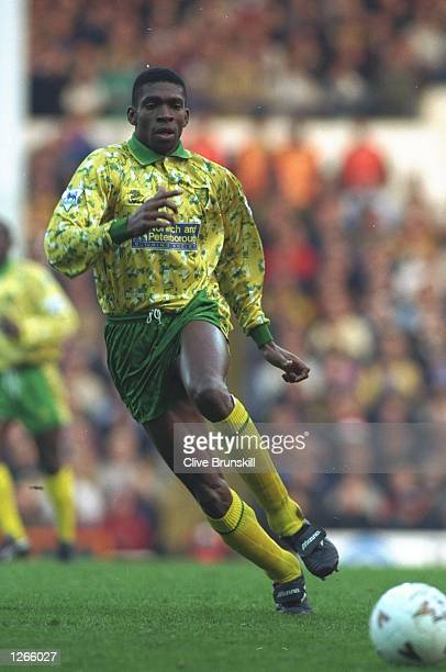 Efan Ekoku of Norwich City in action during an FA Carling Premiership match against Tottenham Hotspur at White Hart Lane in London Norwich City won...