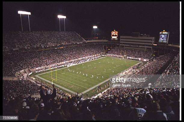 An overhead view of Sun Devil Stadium in Tempe, Arizona, where the Dallas Cowboys play the Arizona Cardinals in an NFC match-up. The Cowboys defeated...