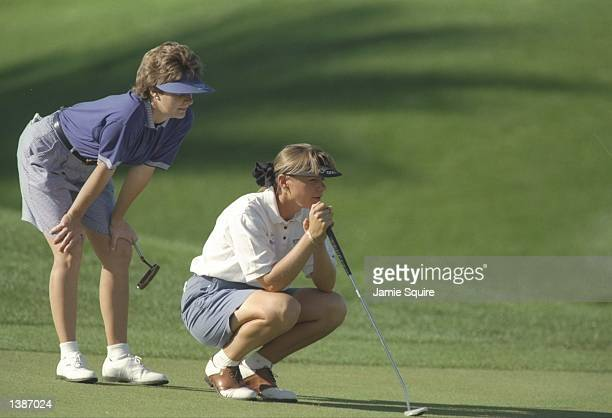 Annika Sorenstam and Nancy Bowen watch their play during the Diner''s Club Matches at the PGA West Jack Nicklaus Resort Course in La Quinta...