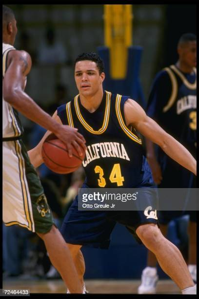 Guard Tony Gonzalez of the California Bears plays defense during a game against the University of San Francisco Dons held at memorial Gymnasium in...