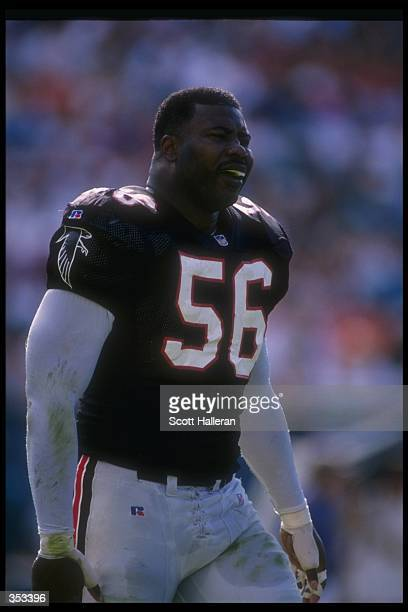 Linebacker Chris Doleman of the Atlanta Falcons looks on during a game against the Miami Dolphins at Joe Robbie Stadium in Miami Florida The Dolphins...