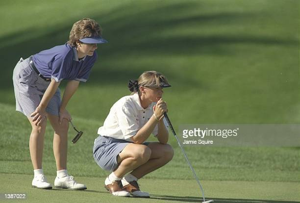Nancy Bowen and Annika Sorenstam watch their play during the Diner''s Club Matches at the PGA West Jack Nicklaus Resort Course La Quinta California...
