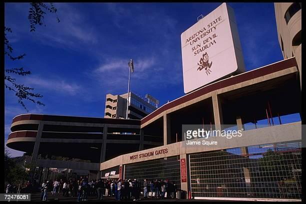 Portrait of the entrance to Sun Devil Stadium in Tempe Arizona where the Arizona Cardinals and the Arizona State Sun Devils play football