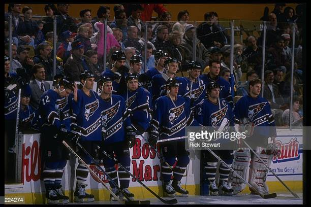 The Washington Capitals bench looks on during a game against the Buffalo Sabres at Memorial Auditorium in Buffalo New York The game was a tie 22...