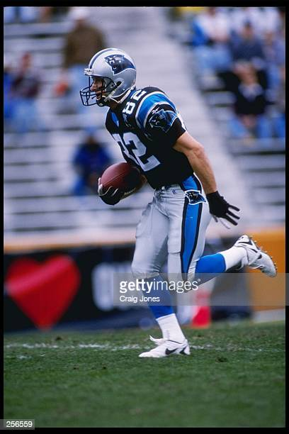 Wide receiver Don Beebe of the Carolina Panthers runs down the field during a game against the Atlanta Falcons at Memorial Stadium in Clemson, South...