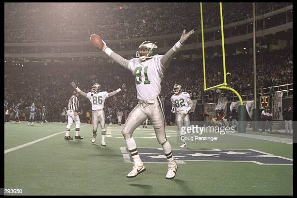 Wide receiver Rob Carpenter of the Philadelphia Eagles celebrates a touchdown catch during a game against the Detroit Lions at Veterans Stadium in...