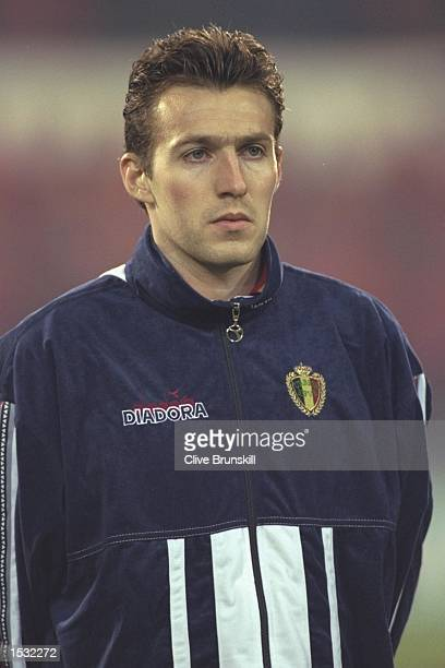 A portrait of Marc Wilmots of Belgium taken before the start of the World cup qualifier between Belgium and Holland in Belgium Holland won the match...