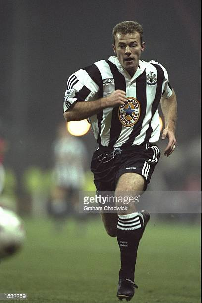 Alan Shearer of Newcastle in action during the FA Carling Premier league match between Nottingham Forest and Newcastle United at the City Ground in...