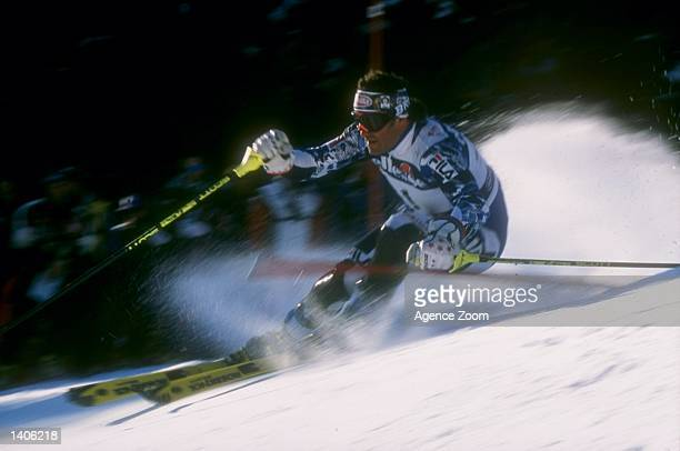 Alberto Tomba of Italy in action during the men''s slalom competition at the World Cup of Skiing in Madonna Dicampaglio Italy Mandatory Credit Zoom...