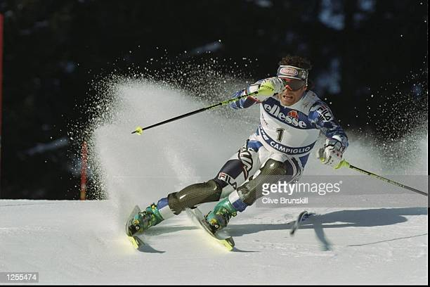 Alberto Tomba of Italy in action during the Mens World Cup Slalom event at Madonna di Campiglio Italy Tomba finished in second place with a total...