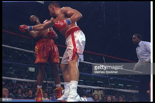 Andrew Golota and Riddick Bowe trade blows during a bout at the Convention Center in Atlantic City New Jersey Bowe won the fight by disqualification