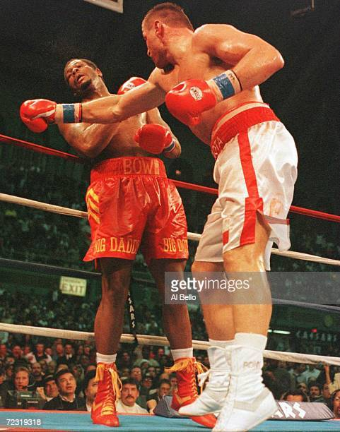 Andrew Golota tags Riddick Bowe with a right hand during their return bout at the Atlantic City Convention Center in Atlantic City New Jersey