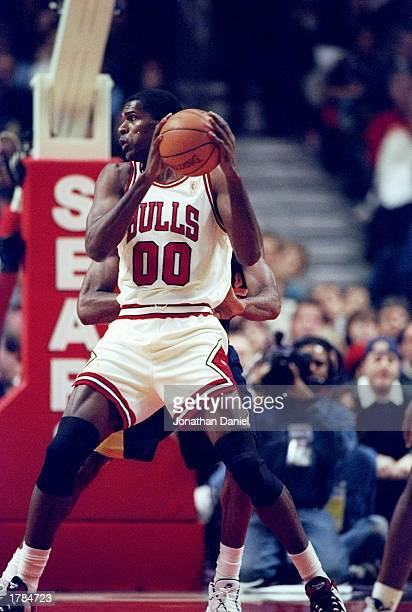 Center Robert Parish of the Chicago Bulls in action during a game against the Indiana Pacers at the United Center in Chicago Illinois The Bulls won...