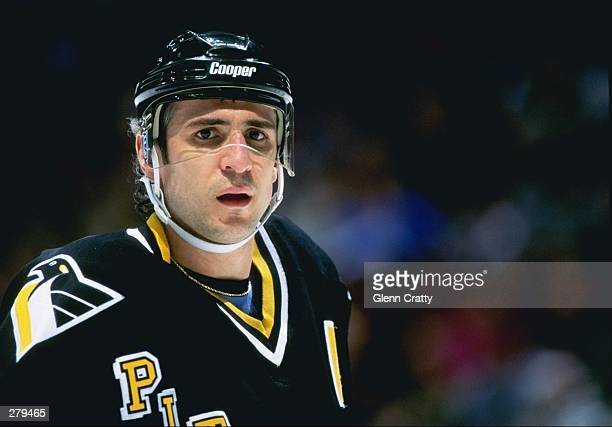 Center Ron Francis of the Pittsburgh Penguins looks on during a game against the Anaheim Mighty Ducks at Arrowhead Pond in Anaheim, California. The...
