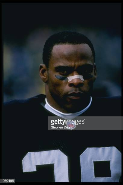 Defensive back Albert Lewis of the Oakland Raiders looks on during a game against the Seattle Seahawks at the Oakland-Alameda County Coliseum in...