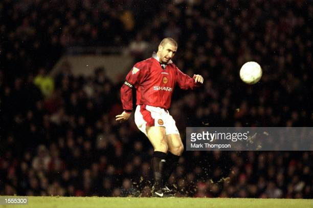 Eric Cantona of Manchester United shoots to score during an FA Carling Premiership match against Sunderland at Old Trafford in Manchester England...