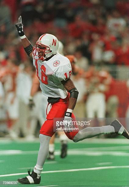 Eric Stokes of the University of Nebraska Cornhuskers celebrates after intercepting a pass from James Brown of the University of Texas during the...