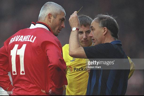 Fabrizio Ravanelli of Middlesbrough is booked, during the FA Carling Premier league match between Middlesbrough and Leeds United at the Riverside...