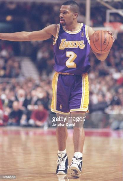 Guard Derek Fisher of the Los Angeles Lakers walks down the court during a game against the Chicago Bulls at the United Center in Chicago Illinois...