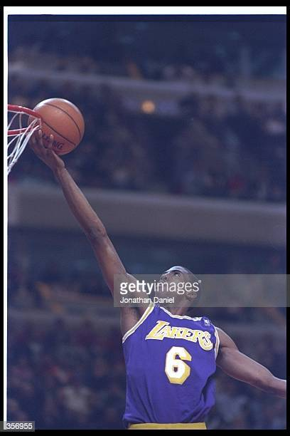 Guard Eddie Jones of the Los Angeles Lakers goes up for two during a game against the Chicago Bulls at the United Center in Chicago Illinois The...